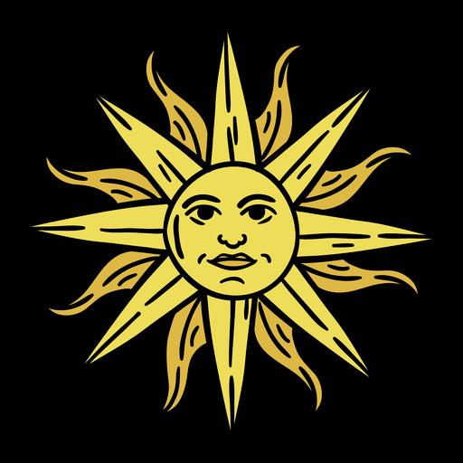 Dibujado a mano arte del sol de uruguay