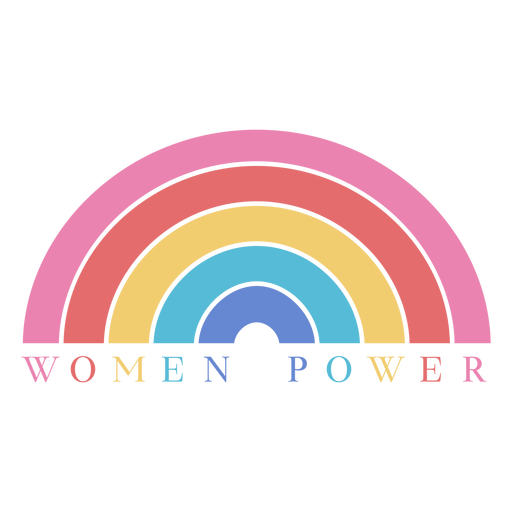 Womens day women power rainbow lettering Transparent PNG