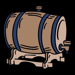 Barril de cerveza de madera dibujado a mano