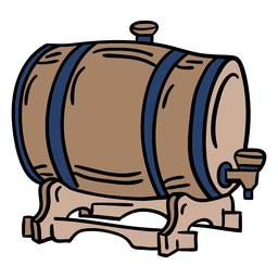 Wooden beer barrel hand drawn