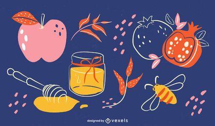 Ilustración de elementos de comida de Rosh Hashaná