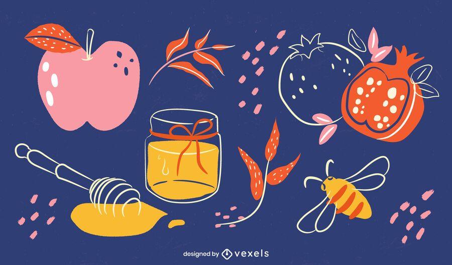 Rosh Hashanah Food Elements Illustration