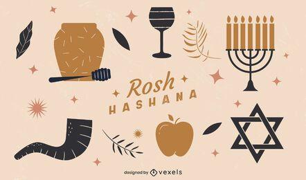 Elementos ilustrados planos de Rosh Hashaná