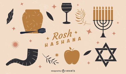 Rosh Hashanah Flat Illustrated Elements