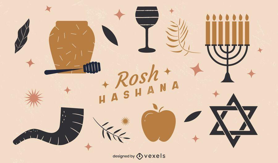 Elementos planos ilustrados de Rosh Hashaná