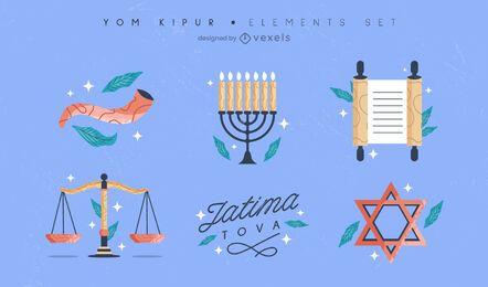 Conjunto de elementos coloridos Yom Kipur