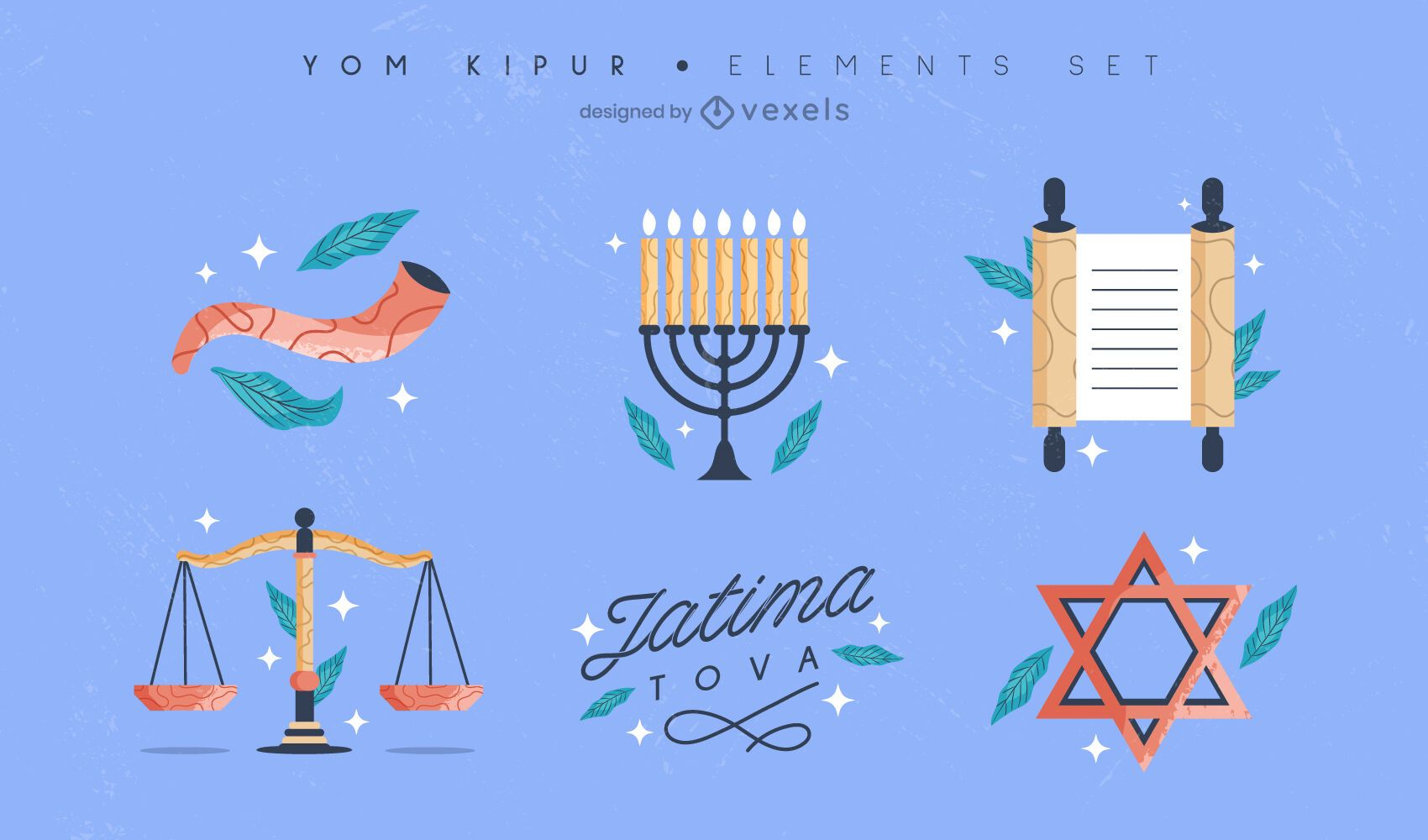 Conjunto de elementos de colores de Yom Kipur