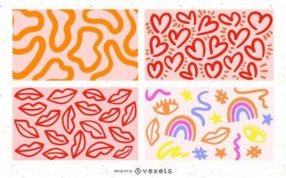 conjunto de fundo bonito doodles