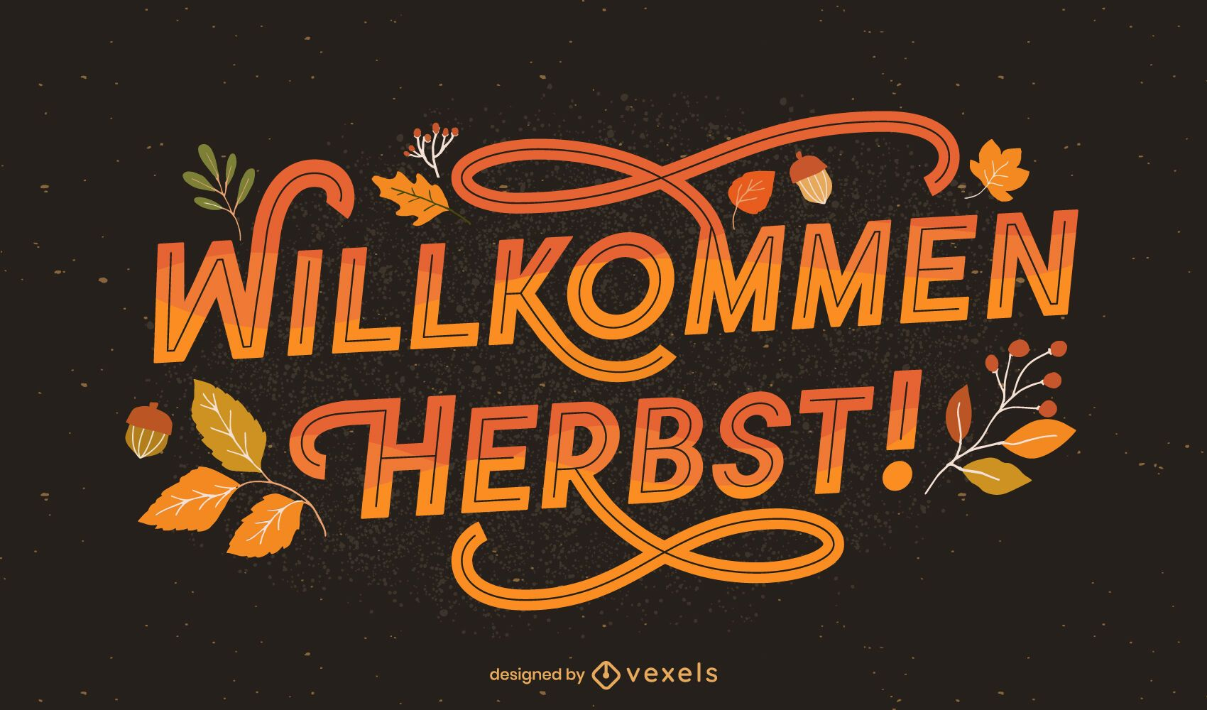 welcome autumn german lettering