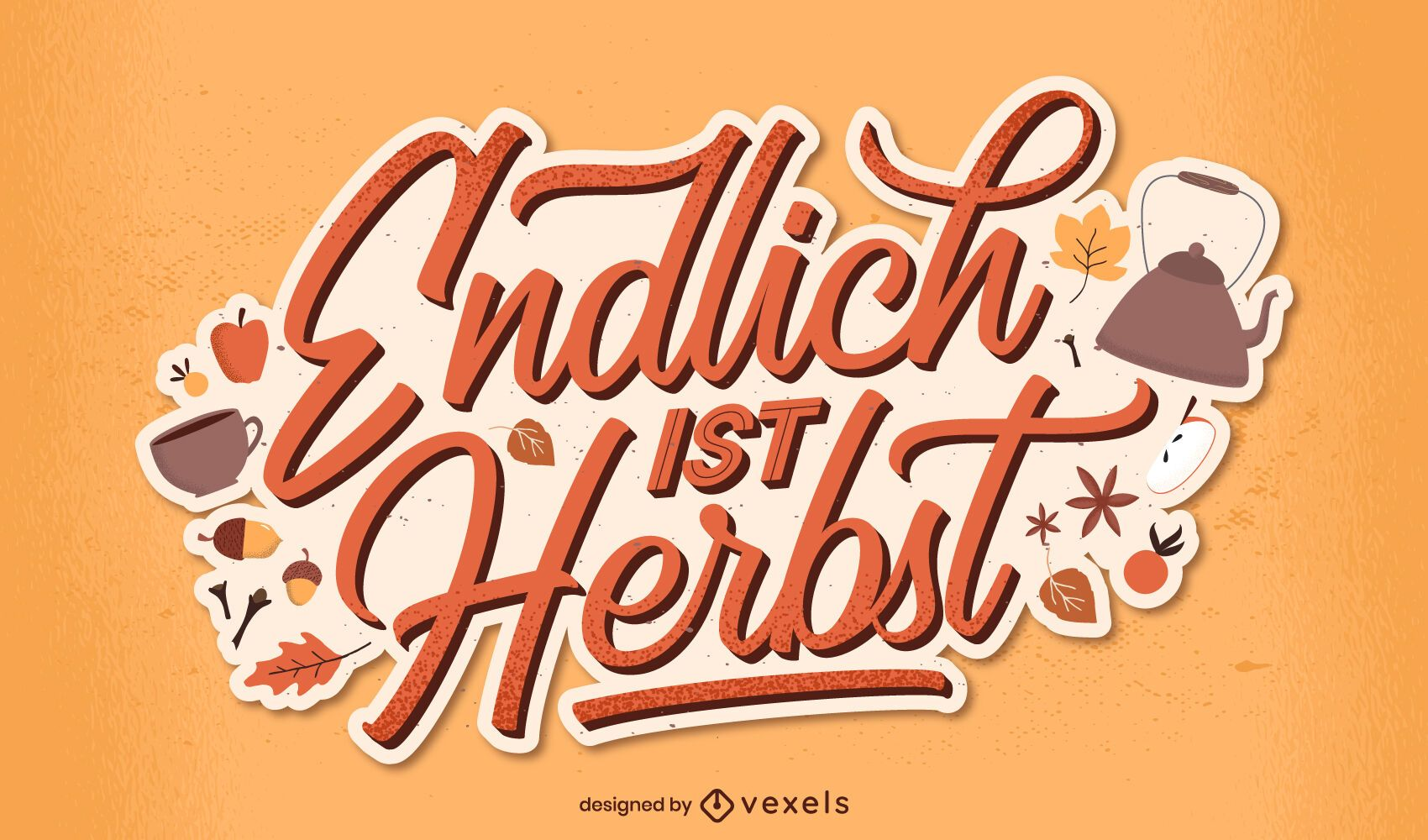 finally it's autumn german lettering