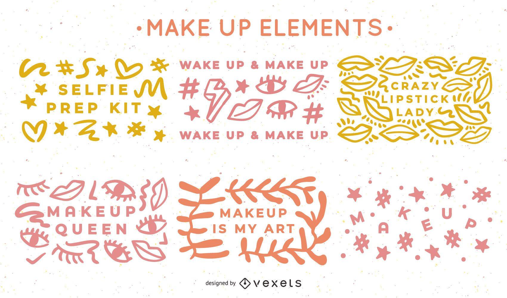 Paquete de diseño de elementos de maquillaje