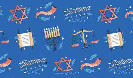 Diseño de patrón enlosables de Yom Kippur