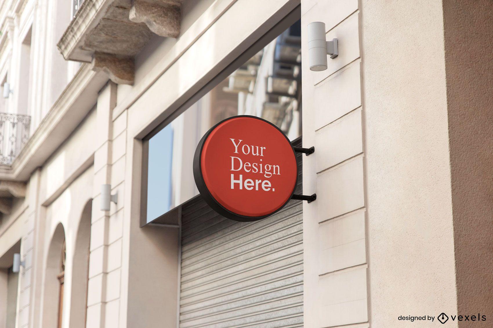 Round Shop Sign Mockup Design