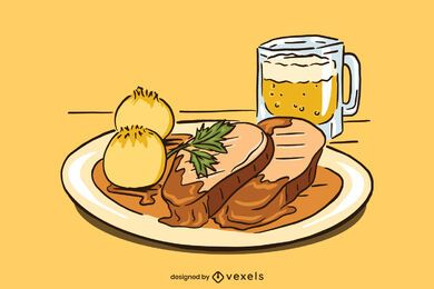 Diseño de ilustración de cerdo asado de Baviera