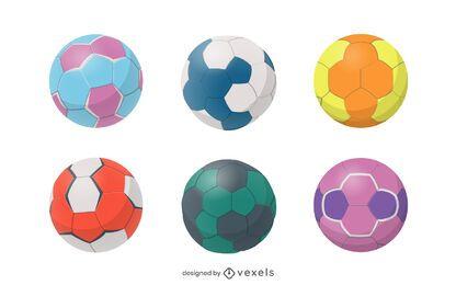 Conjunto de bola brilhante colorido de handebol