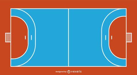 Diseño de cancha de balonmano plana
