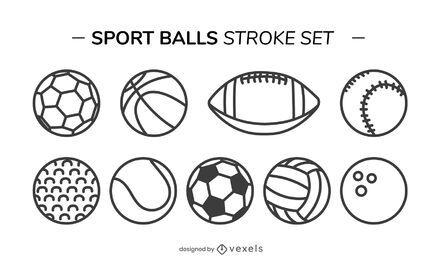 conjunto de traço de bolas de esporte