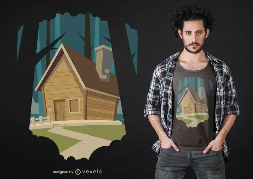 Traditional Country House T-shirt Design