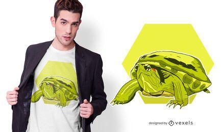 Design de t-shirt de tartaruga de orelha vermelha