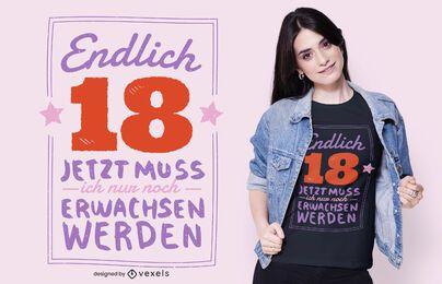 Diseño de camiseta de cita alemana de 18 cumpleaños