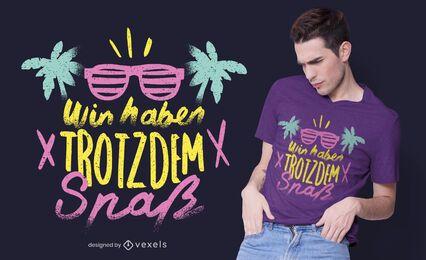 Design de camiseta com citações alemãs para o verão dos anos 90