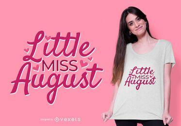 design de t-shirt pequena senhorita agosto