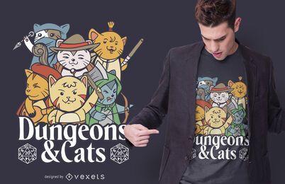 design de t-shirt de masmorras e gatos