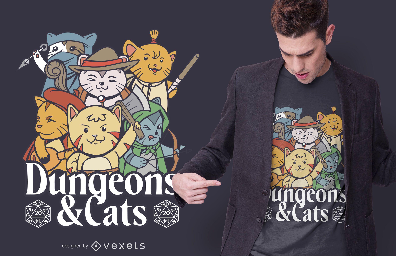 Dise?o de camiseta de mazmorras y gatos.