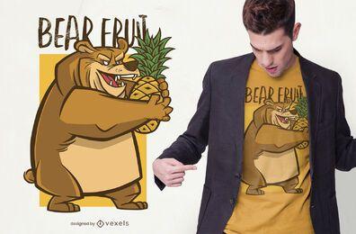 design de t-shirt de frutas de urso
