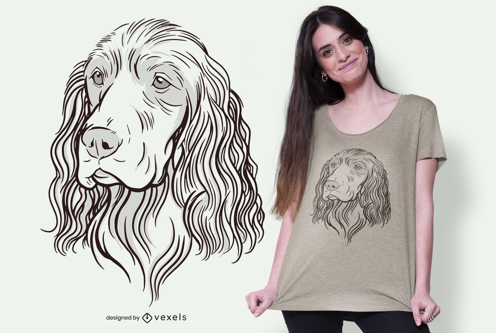 diseño de camiseta de ilustración de cocker