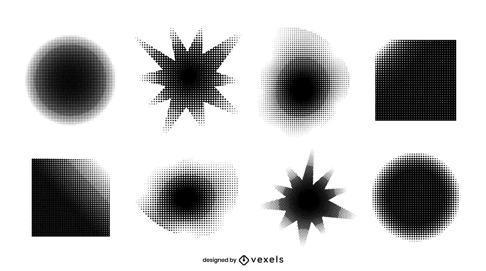 Pacote de design de efeito de meio-tom