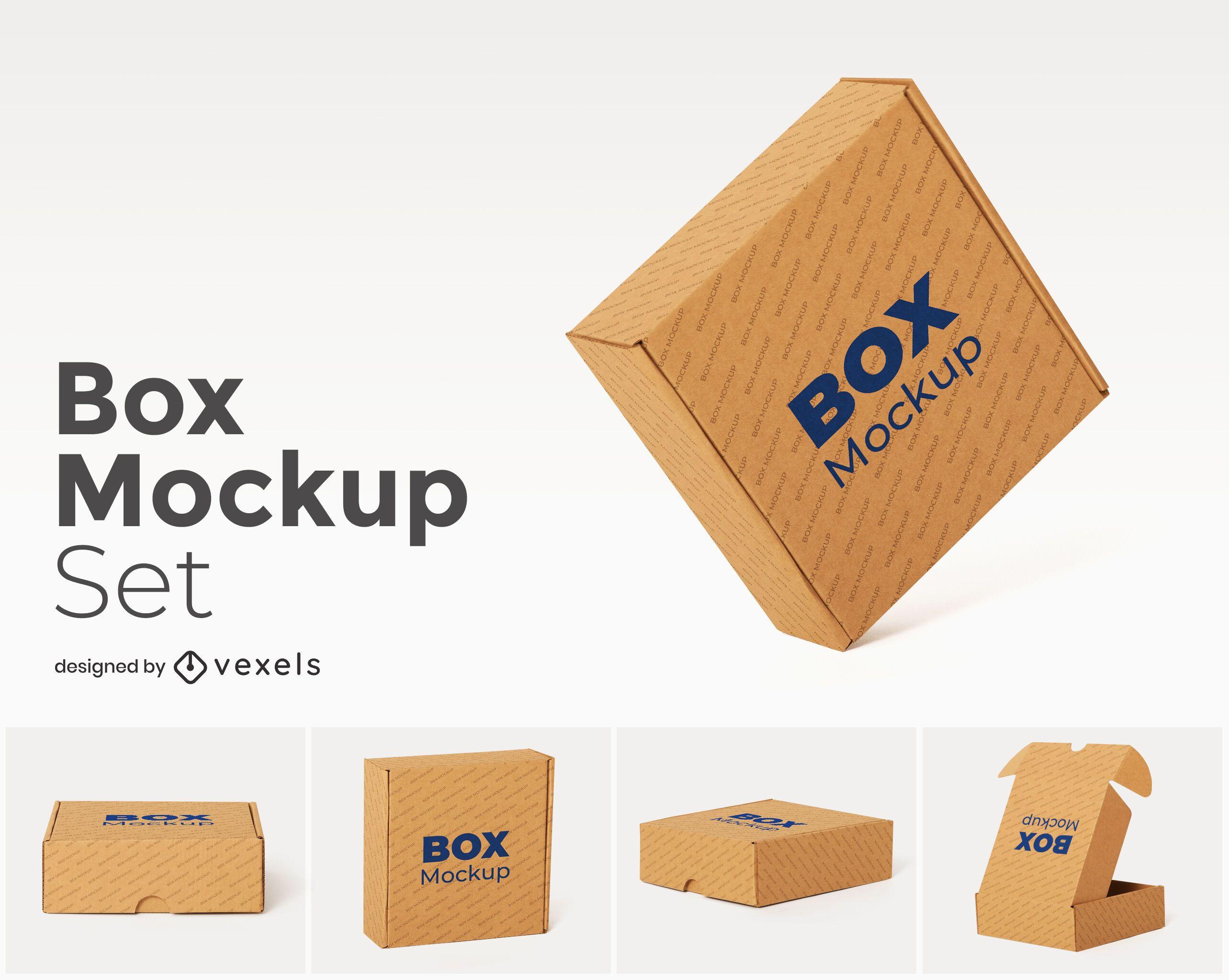 cardboard box set mockup
