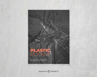 Design de maquete de cartaz de papel plástico