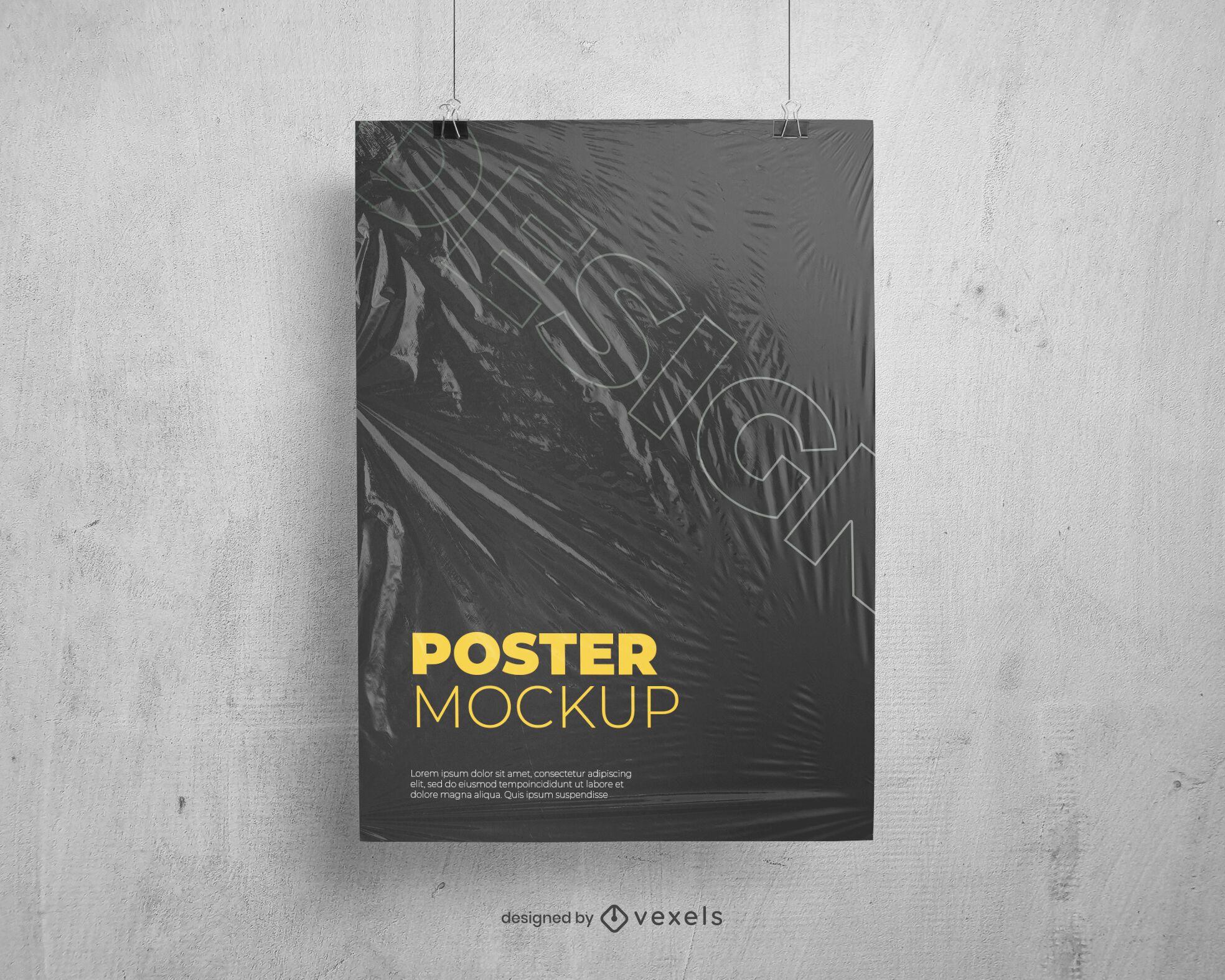 plastic texture poster mockup