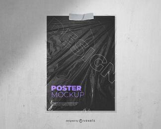 diseño de maqueta de cartel de textura de plástico