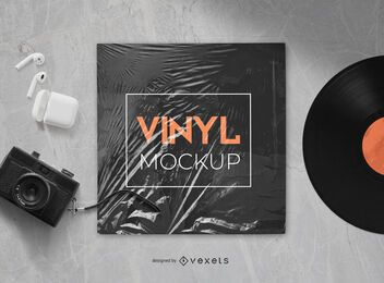 vinyl record plastic mockup composition