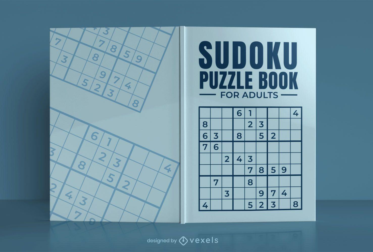 Diseño de portada de libro de rompecabezas de Sudoku