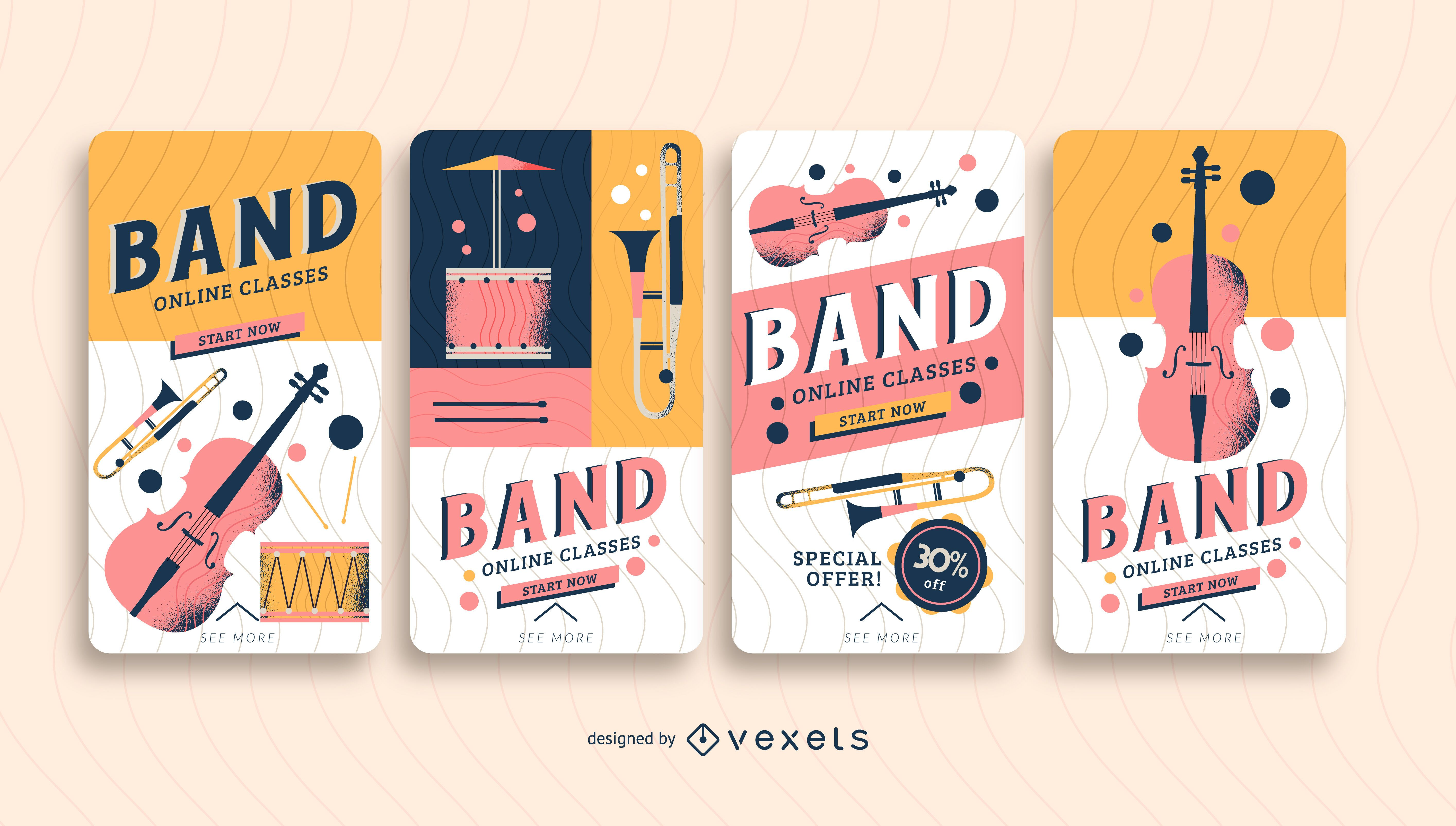 band classes social media story template