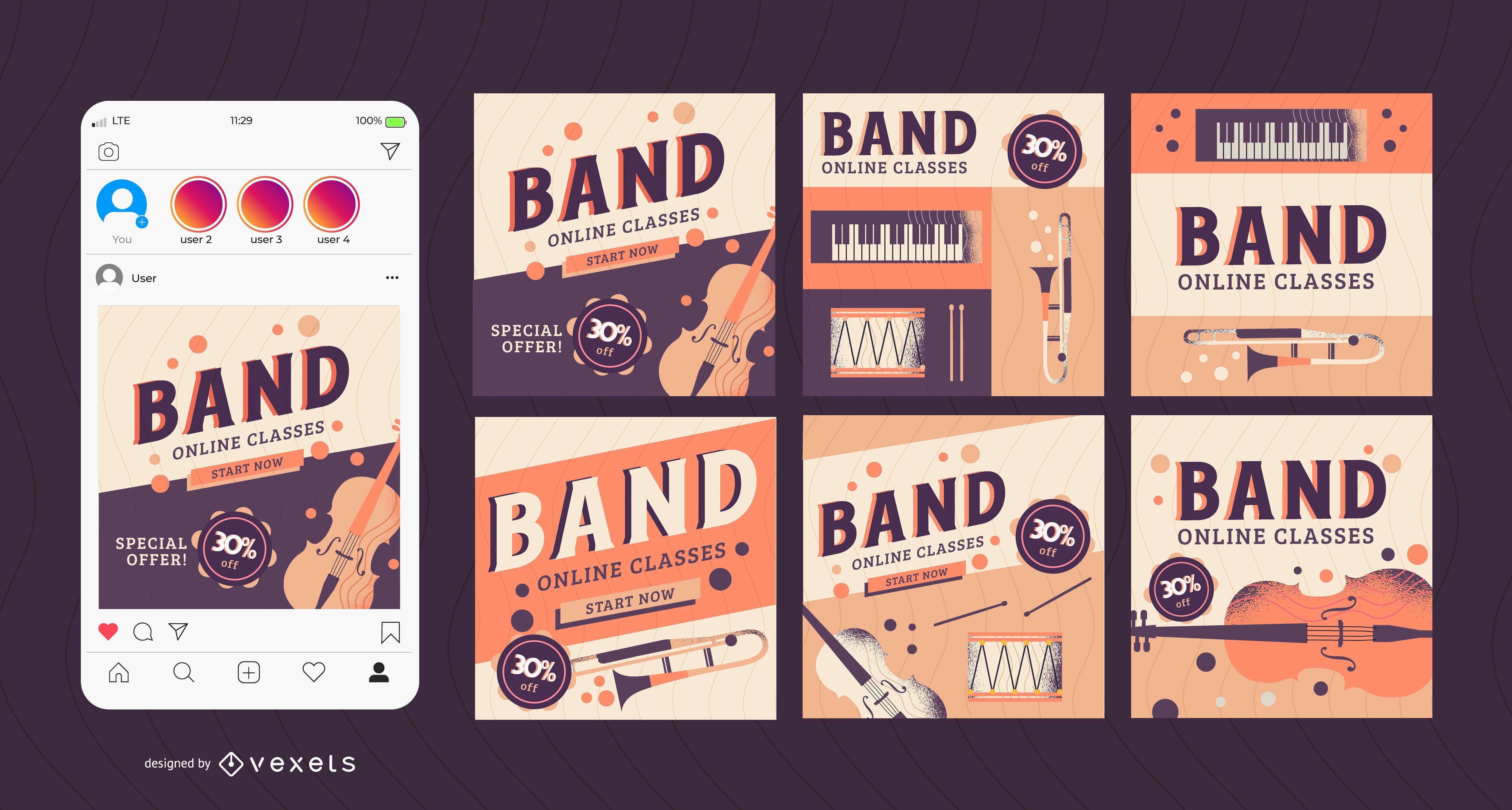 band classes social media post set