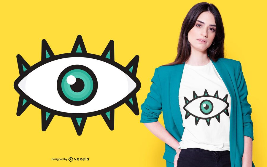 diseño de camiseta de ojo plano
