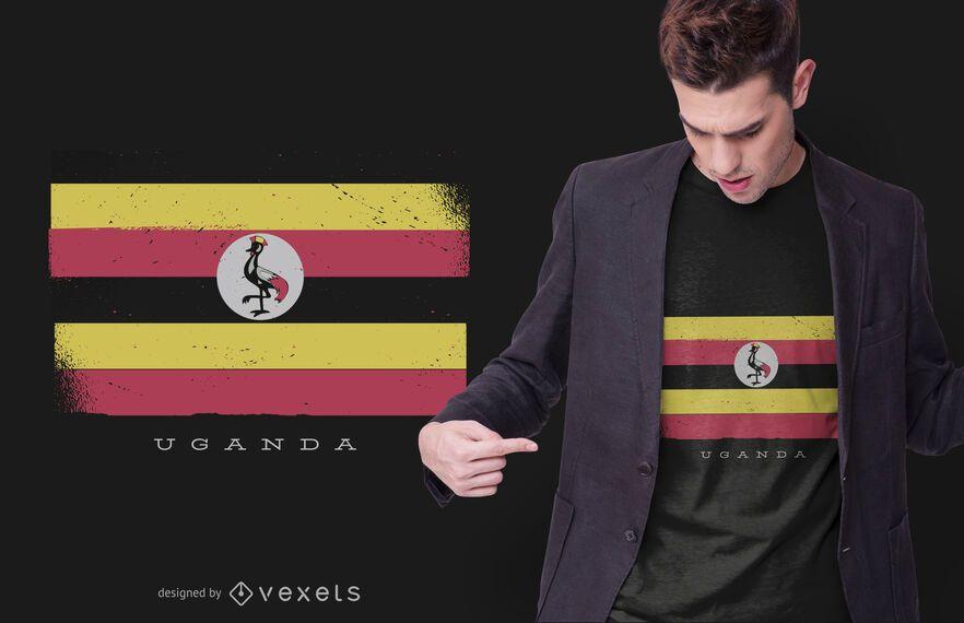 diseño de camiseta de bandera nacional de uganda