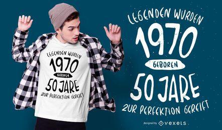 Nacido en 1970 diseño de camiseta alemana
