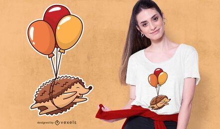 design de t-shirt de balões de ouriço