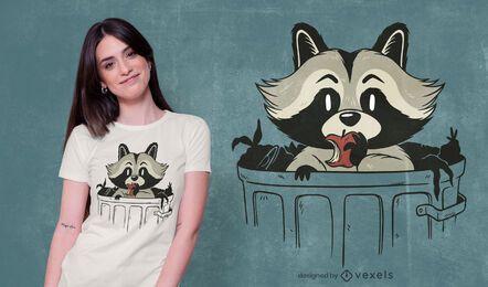 diseño de camiseta de basura de mapache