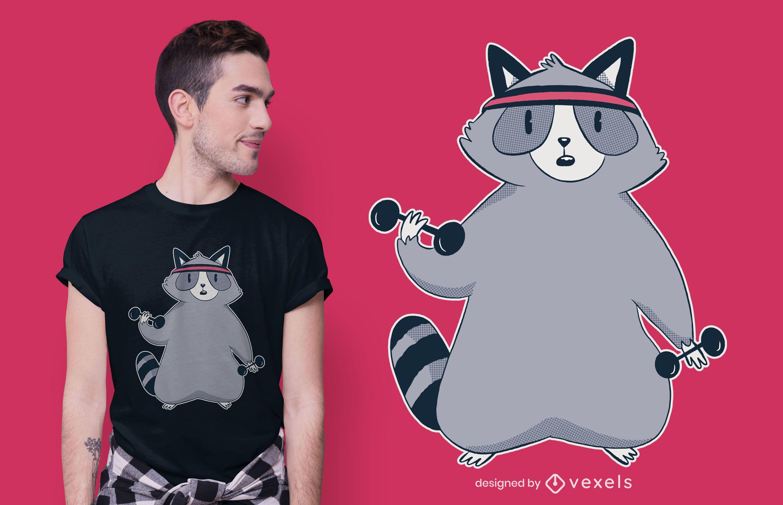 Raccoon Workout T-shirt Design