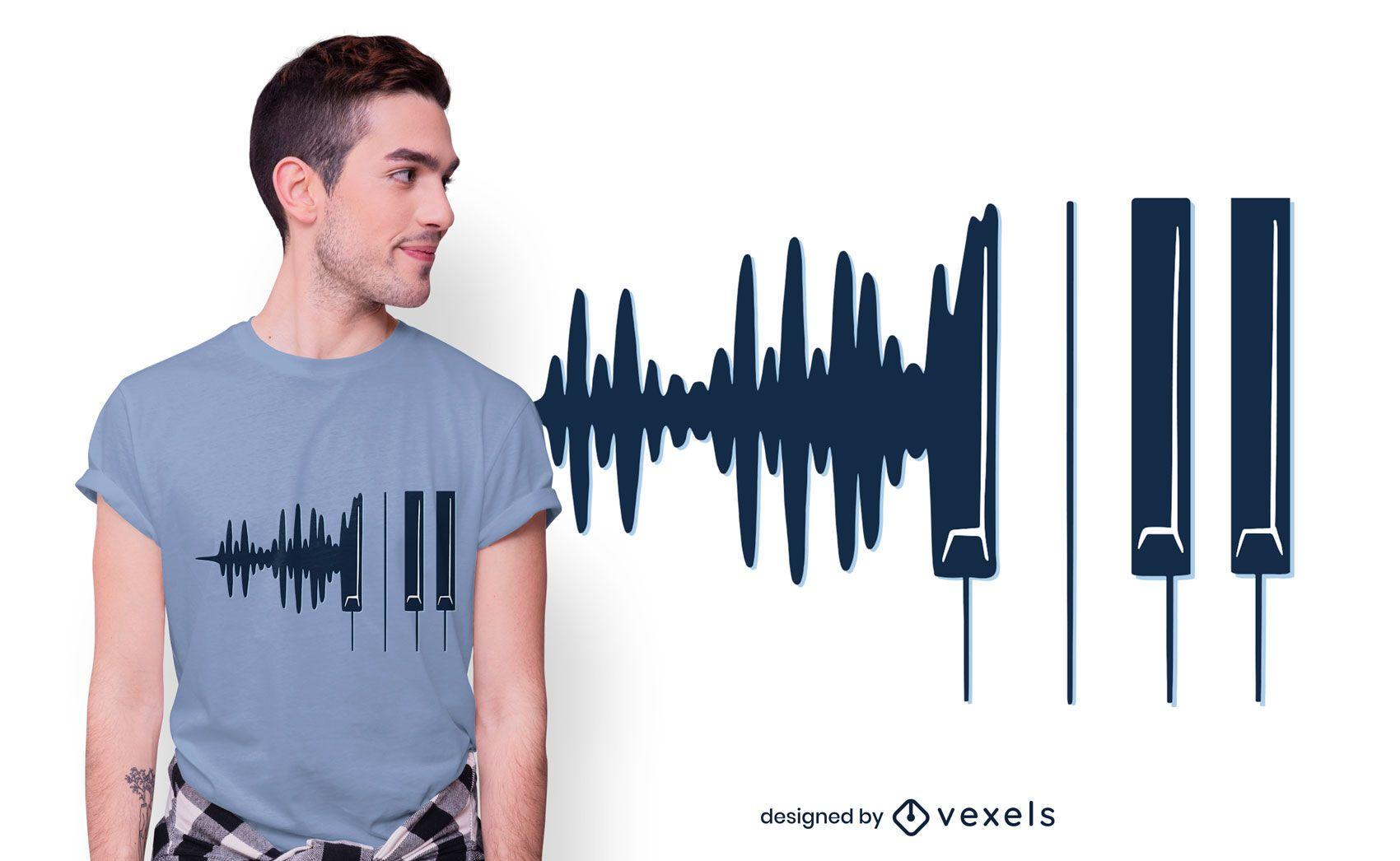 Diseño de camiseta Piano Soundwaves