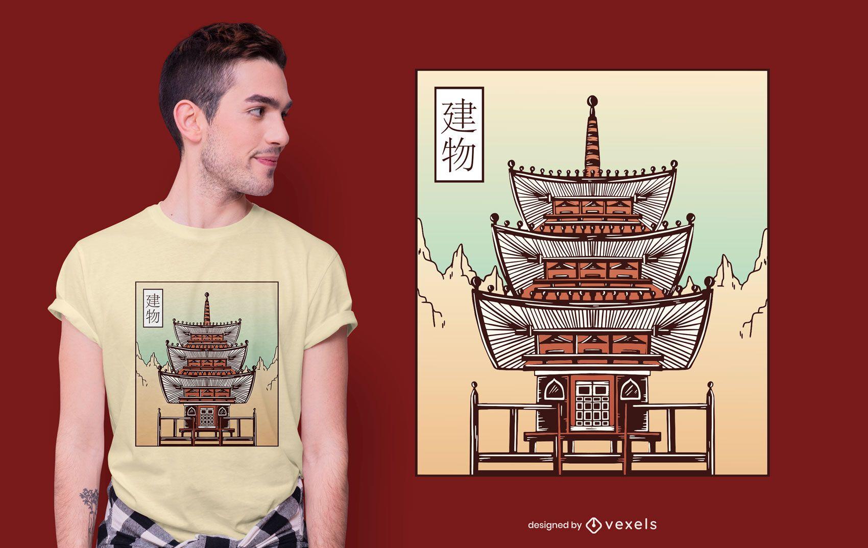 Diseño de camiseta de castillo japonés