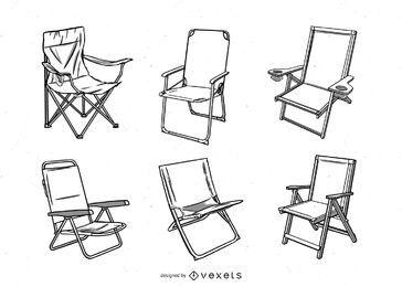 conjunto de ilustração de cadeiras de acampamento