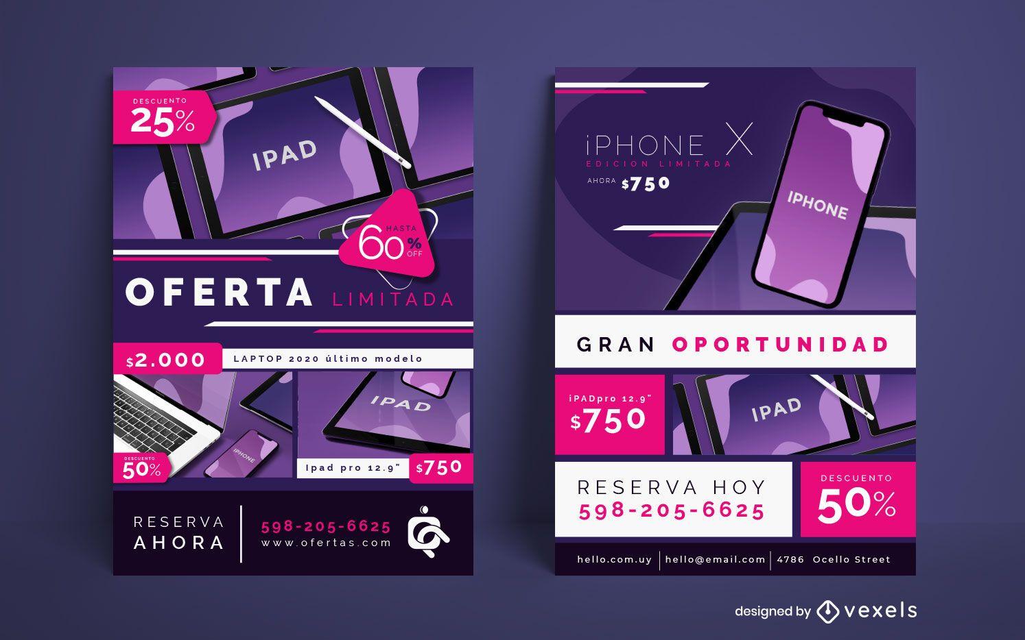 Conjunto de carteles de venta de dispositivos tecnológicos
