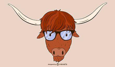 diseño de ilustración de vaca de montaña